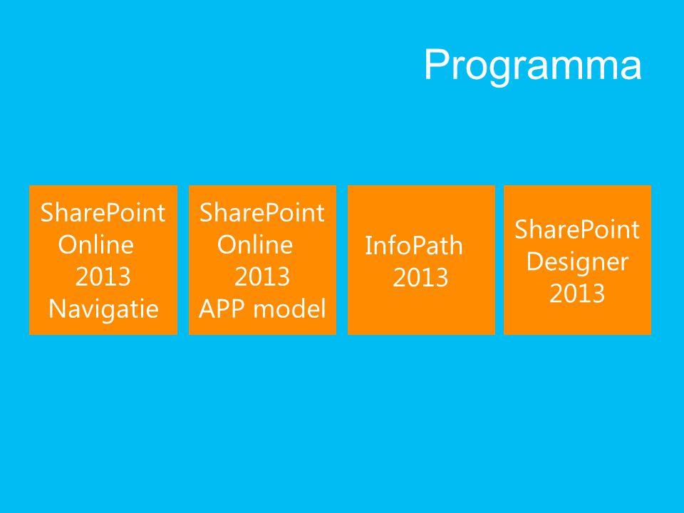 Programma SharePoint Online 2013 Navigatie SharePoint Designer 2013 SharePoint Online 2013 APP model InfoPath 2013