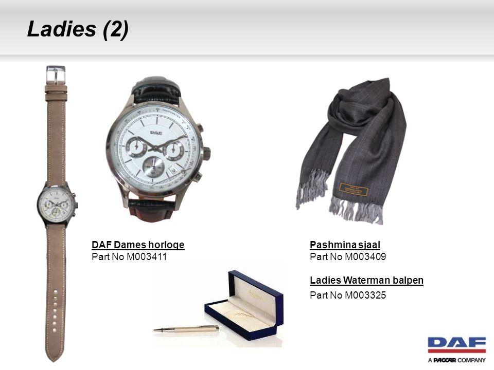 Ladies (2) DAF Dames horloge Part No M003411 Pashmina sjaal Part No M003409 Ladies Waterman balpen Part No M003325