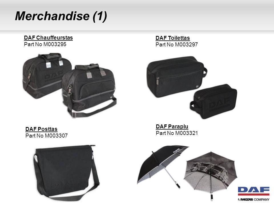 Merchandise (2) DAF Thermosfles Part No M003300 DAF Lederen Riem Part No M003310 DAF Thermosfles medium Part No M003301 DAF Baseball Cap High Gear Part No M003299