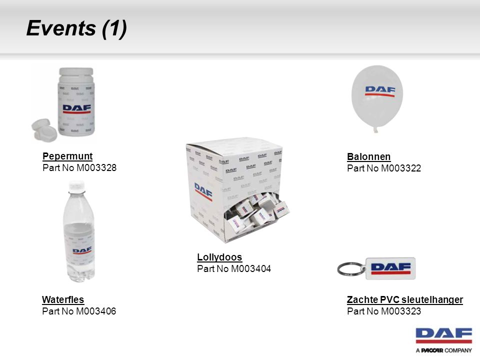 Events (1) Waterfles Part No M003406 Lollydoos Part No M003404 Balonnen Part No M003322 Zachte PVC sleutelhanger Part No M003323 Pepermunt Part No M00