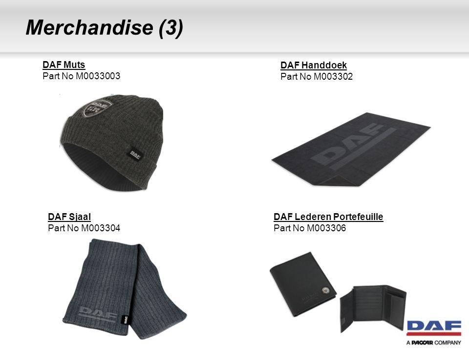 Merchandise (4) DAF Voetbal Part No M0033008 DAF Vochtige doekjes Part No M003296 DAF Golfballen (3 stuks) Part No M003317 DAF Metalen sleutelhanger Part No M003309