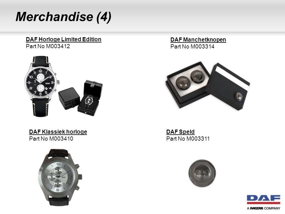 Merchandise (4) DAF Horloge Limited Edition Part No M003412 DAF Manchetknopen Part No M003314 DAF Klassiek horloge Part No M003410 DAF Speld Part No M