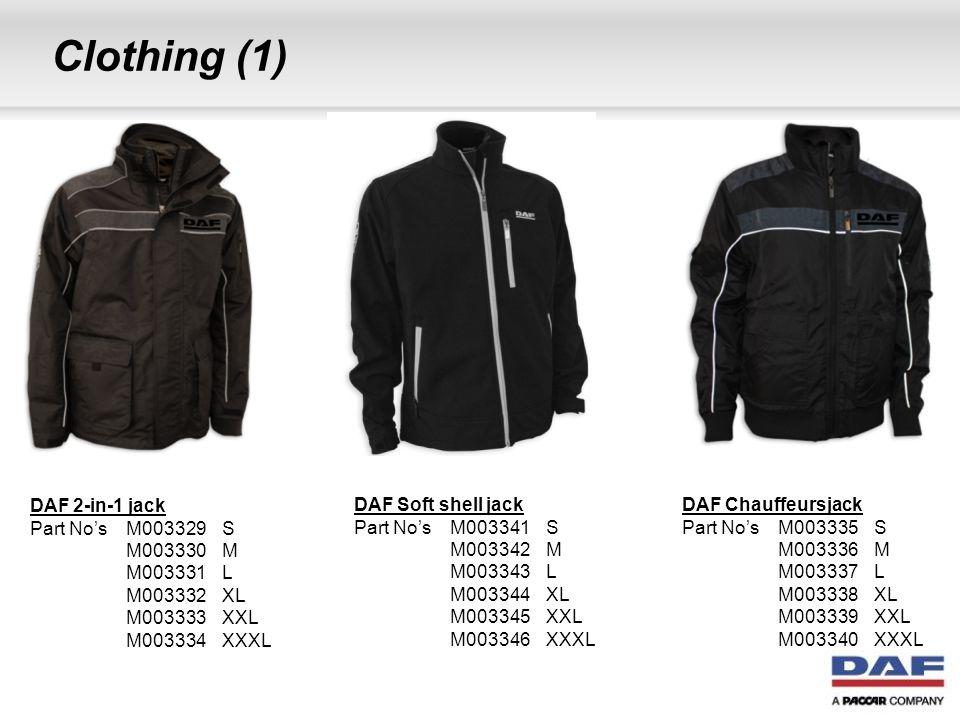 Clothing (2) DAF Trui met lange mouwen Part No's M003359S M003360M M003361L M003362XL M003363XXL M003364XXXL DAF Sweatshirt met capuchon Part No's M003365S M003366M M003367L M003368XL M003369XXL M003370XXXL