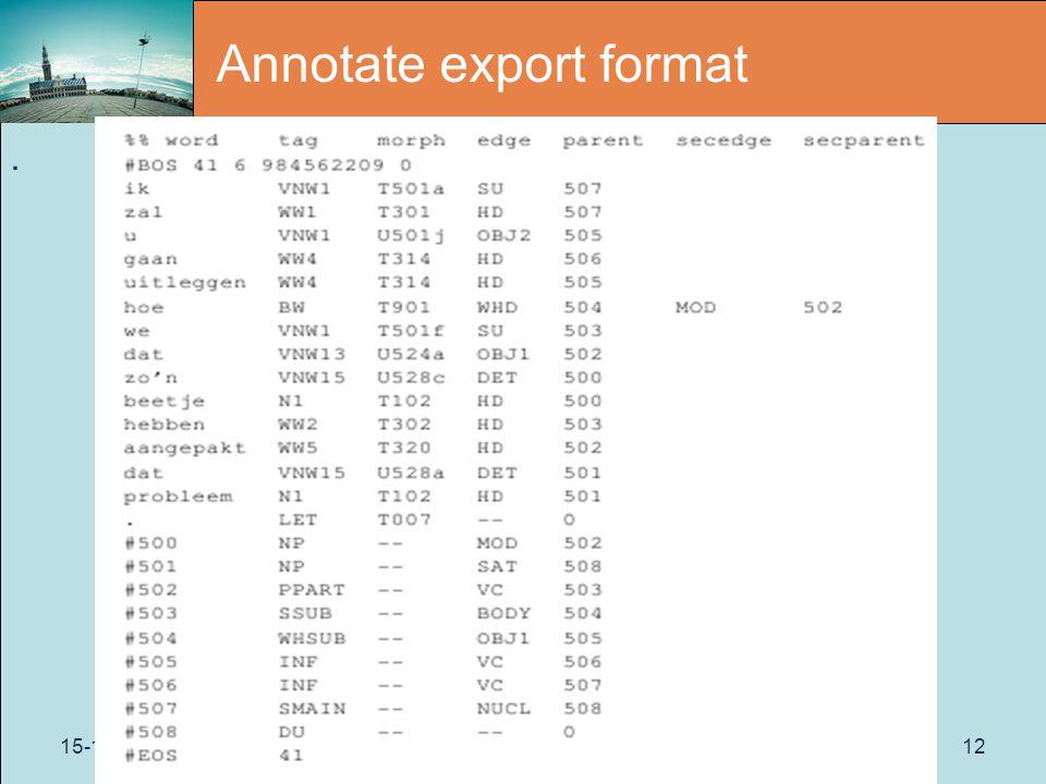 15-11-2011Paris12 Annotate export format.