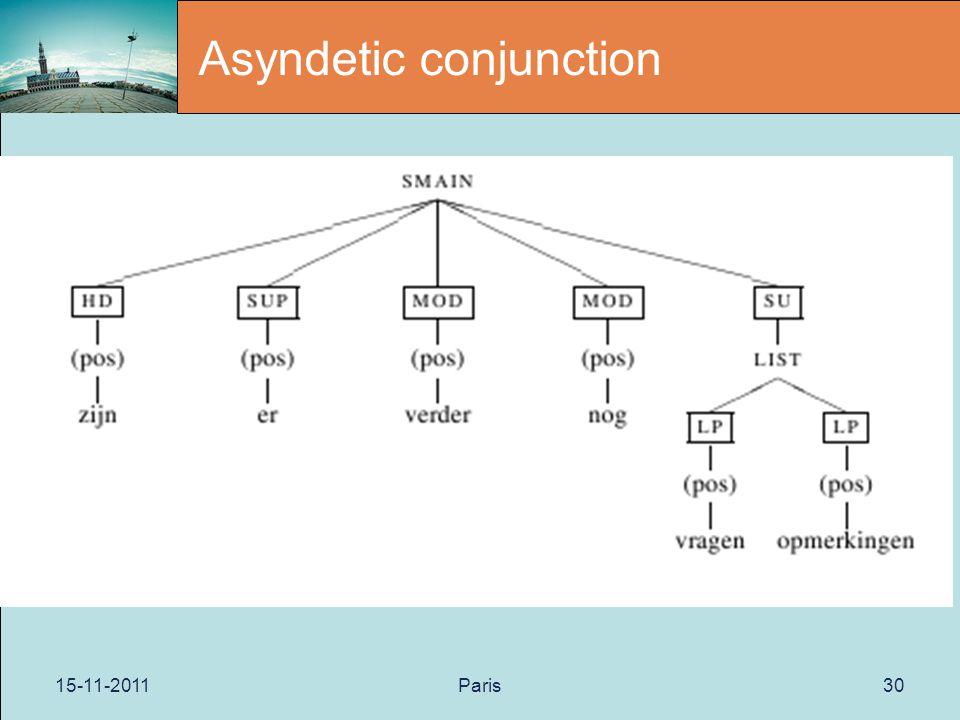 15-11-2011Paris30 Asyndetic conjunction