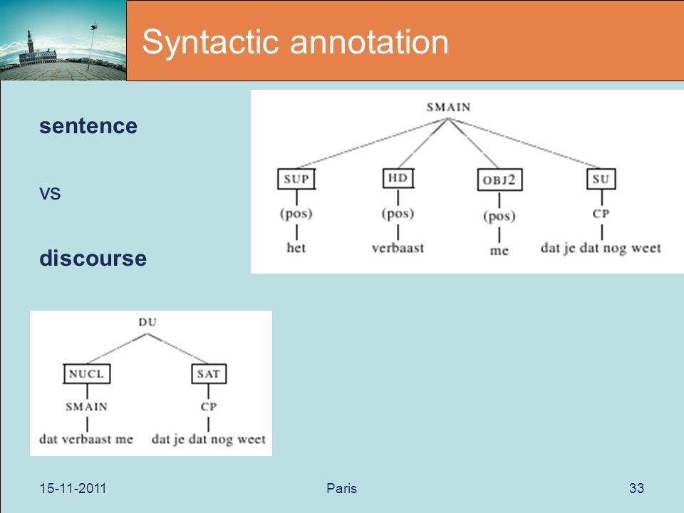 15-11-2011Paris33 Syntactic annotation sentence vs discourse