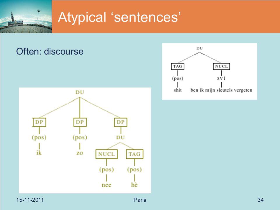 15-11-2011Paris34 Atypical 'sentences' Often: discourse