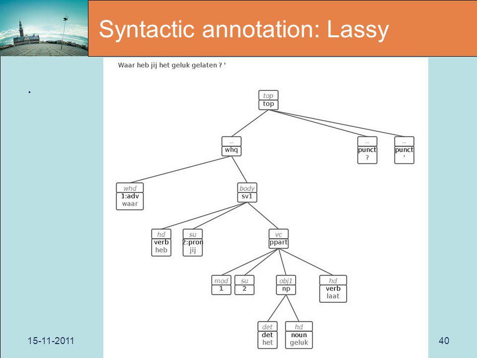 15-11-2011Paris40 Syntactic annotation: Lassy.