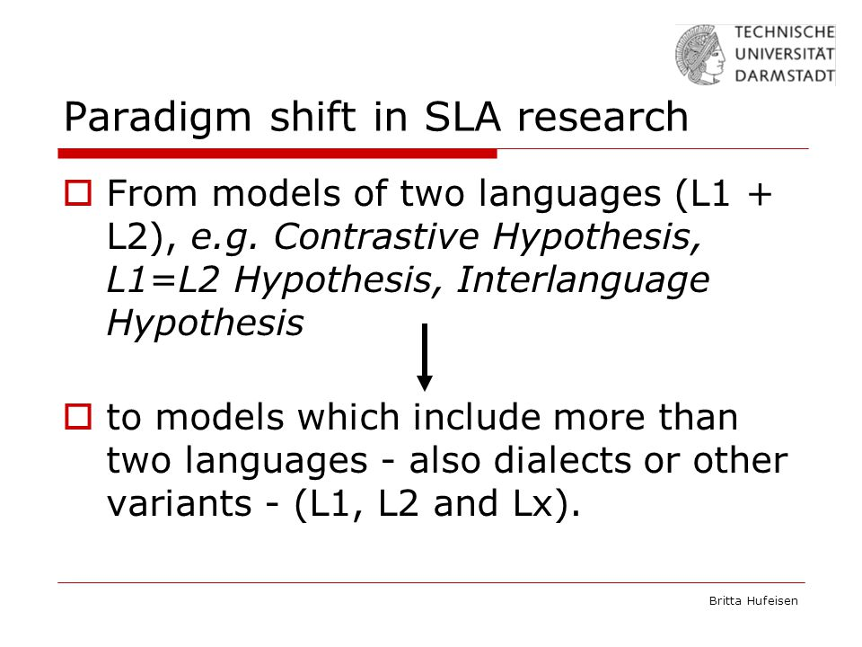Britta Hufeisen Paradigm shift in SLA research  From models of two languages (L1 + L2), e.g.
