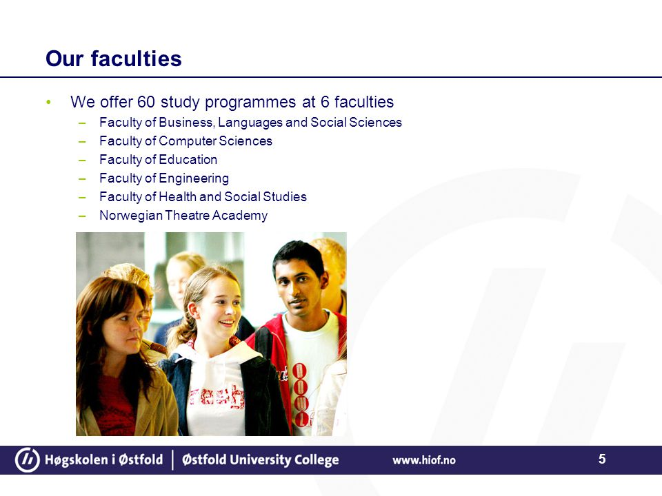 5 Our faculties We offer 60 study programmes at 6 faculties –Faculty of Business, Languages and Social Sciences –Faculty of Computer Sciences –Faculty