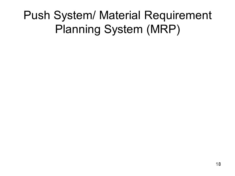 Push System/ Material Requirement Planning System (MRP) 18
