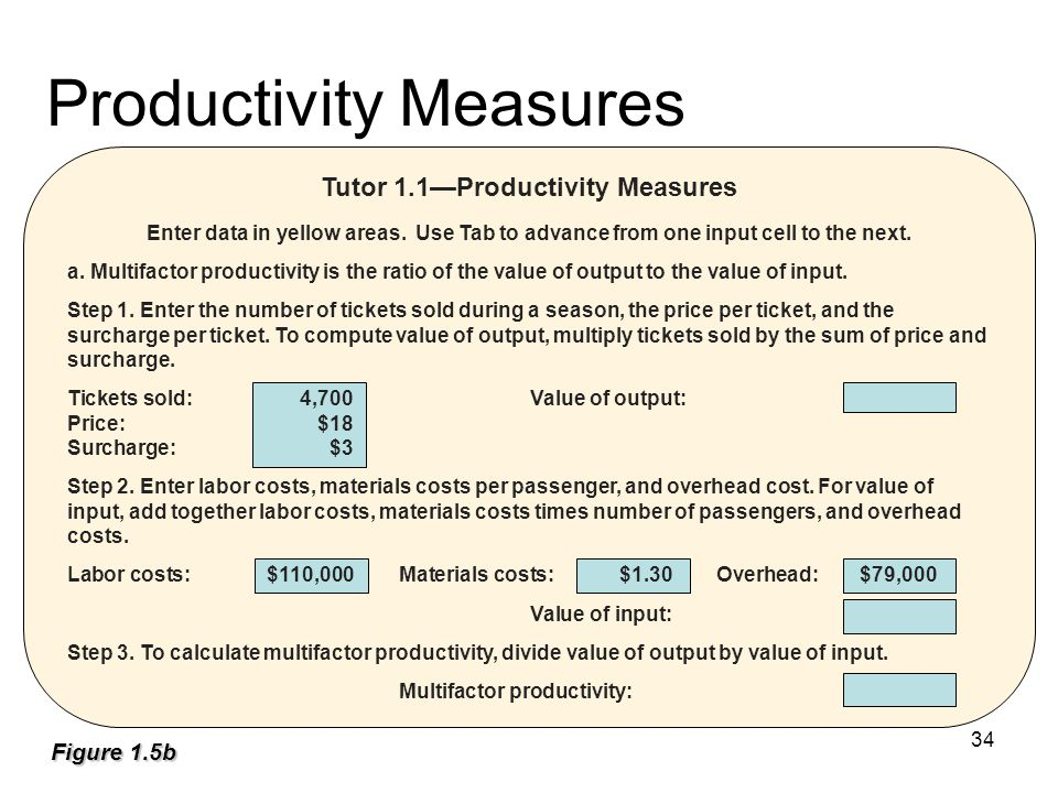 Productivity Measures Tutor 1.1—Productivity Measures Enter data in yellow areas.