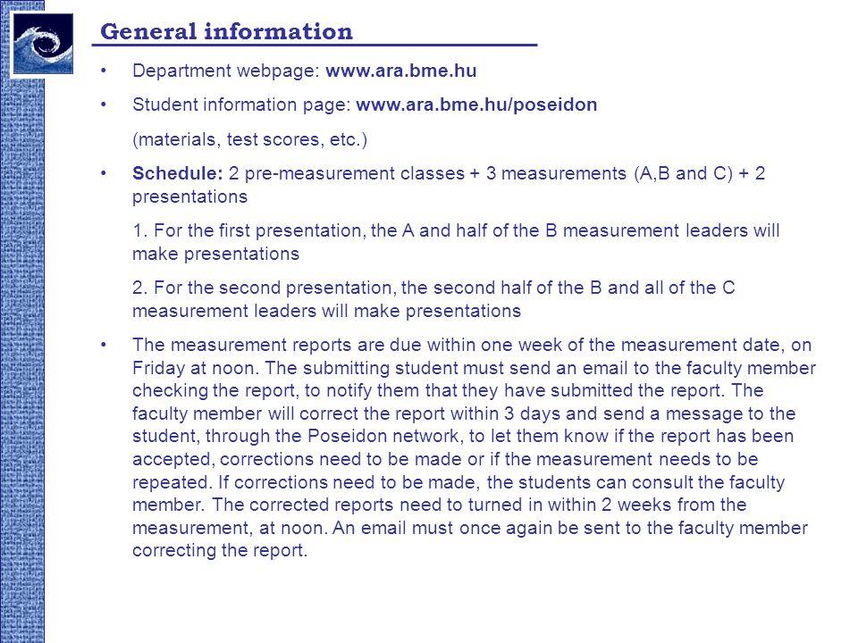 General information Department webpage: www.ara.bme.hu Student information page: www.ara.bme.hu/poseidon (materials, test scores, etc.) Schedule: 2 pr