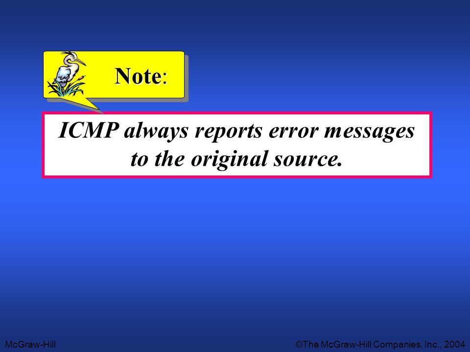 McGraw-Hill©The McGraw-Hill Companies, Inc., 2004 ICMP always reports error messages to the original source. Note: