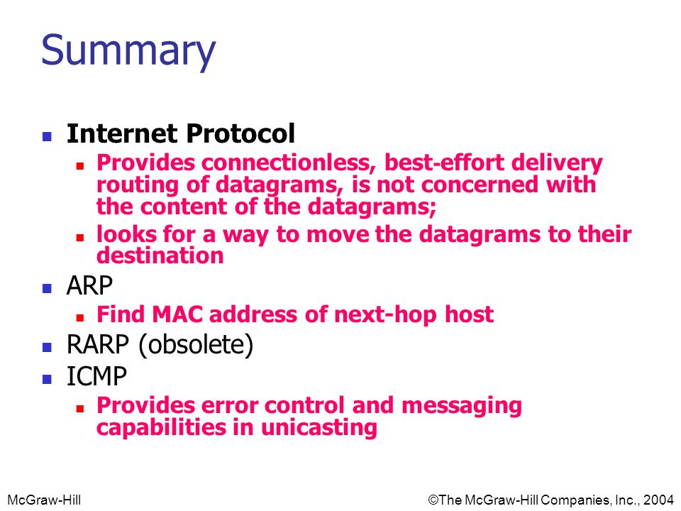 McGraw-Hill©The McGraw-Hill Companies, Inc., 2004 Summary Internet Protocol Provides connectionless, best-effort delivery routing of datagrams, is not