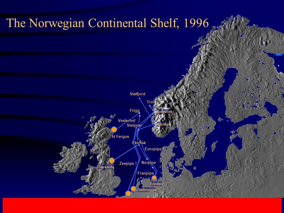 Franpipe Europipe I Zeebrugge Zeepipe I St Fergus Vesterled Troll Frigg Statfjord Norpipe Emden Teesside Ekofisk Kårstø Sleipner Kollsnes The Norwegian Continental Shelf, 1996