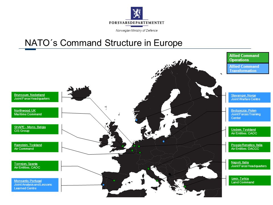Norwegian Ministry of Defence NATO´s Command Structure in Europe Ramstein, Tyskland Air Command Napoli, Italia Joint Force Headquarters Brunssum, Nede
