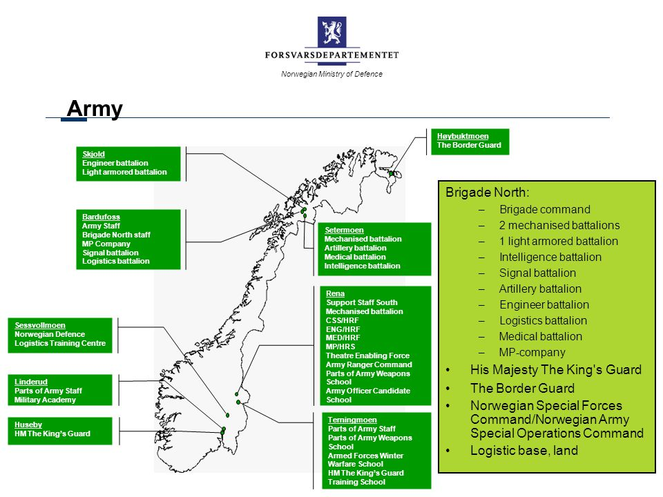 Norwegian Ministry of Defence Brigade North: –Brigade command –2 mechanised battalions –1 light armored battalion –Intelligence battalion –Signal batt