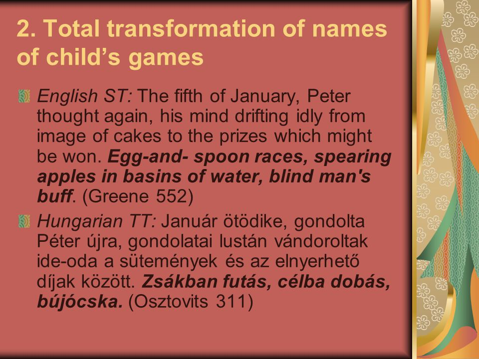 2. Total transformation of names of child's games English ST: The fifth of January, Peter thought again, his mind drifting idly from image of cakes to