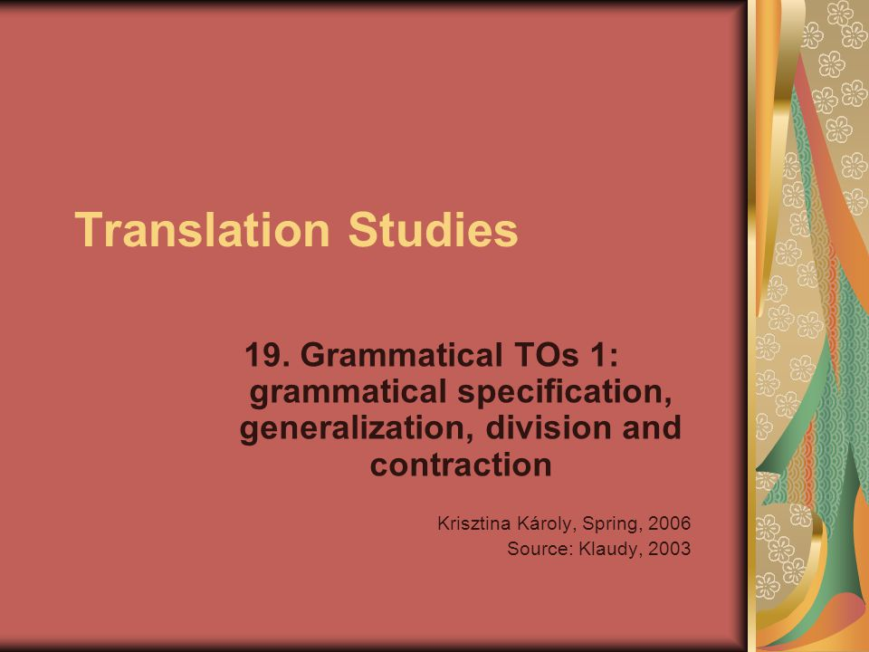 Translation Studies 19.