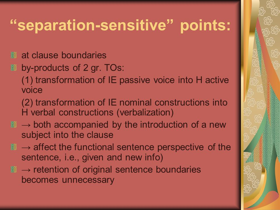 separation-sensitive points: at clause boundaries by-products of 2 gr.