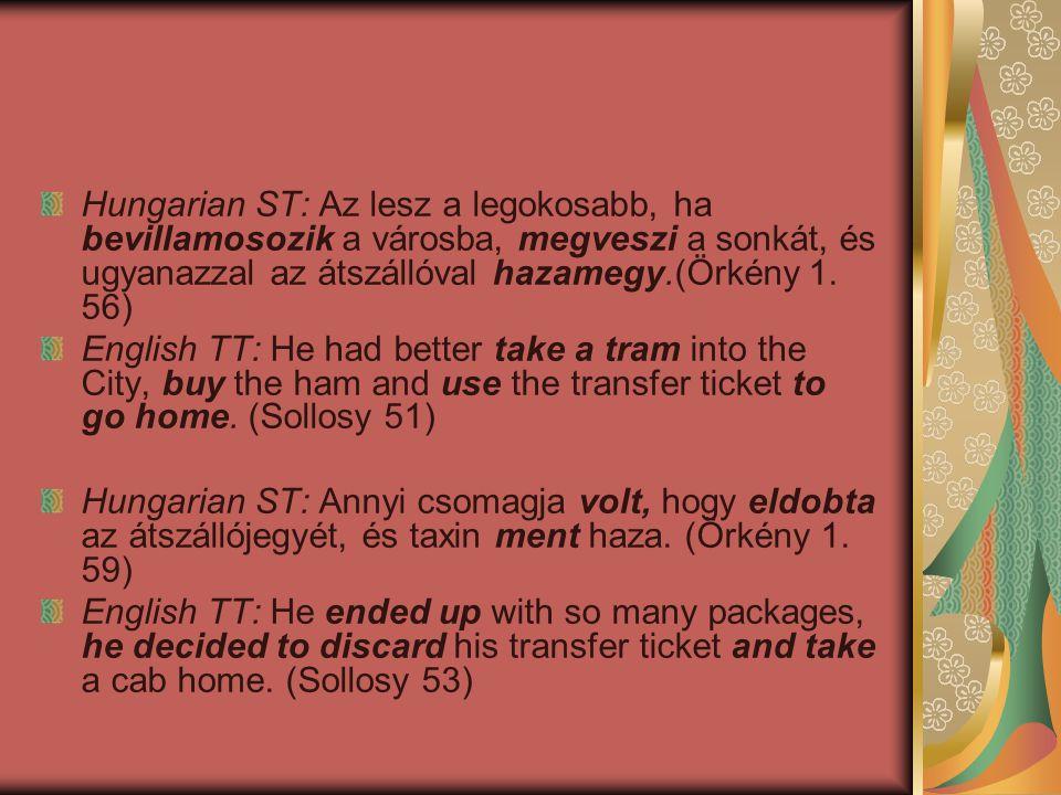 Hungarian ST: Az lesz a legokosabb, ha bevillamosozik a városba, megveszi a sonkát, és ugyanazzal az átszállóval hazamegy.(Örkény 1.