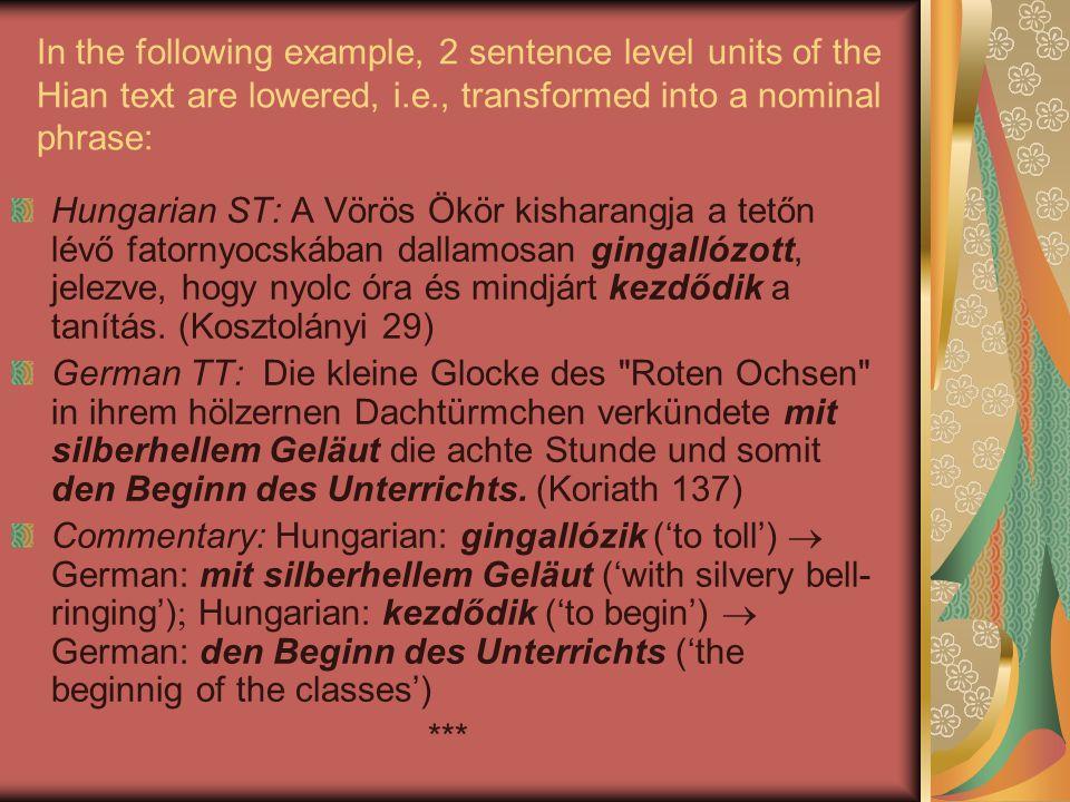 In the following example, 2 sentence level units of the Hian text are lowered, i.e., transformed into a nominal phrase: Hungarian ST: A Vörös Ökör kisharangja a tetőn lévő fatornyocskában dallamosan gingallózott, jelezve, hogy nyolc óra és mindjárt kezdődik a tanítás.