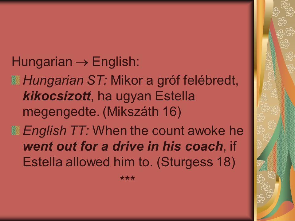 Hungarian  English: Hungarian ST: Mikor a gróf felébredt, kikocsizott, ha ugyan Estella megengedte. (Mikszáth 16) English TT: When the count awoke he
