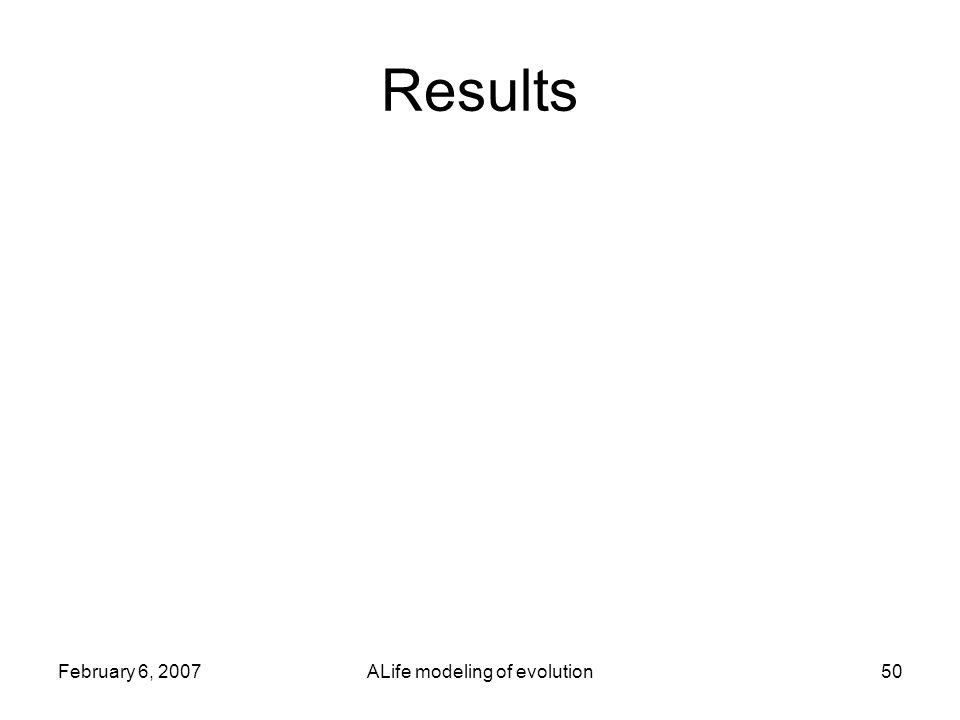 February 6, 2007ALife modeling of evolution50 Results