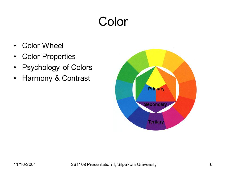 11/10/2004261108 Presentation II, Silpakorn University6 Color Color Wheel Color Properties Psychology of Colors Harmony & Contrast Primary Secondary Tertiary