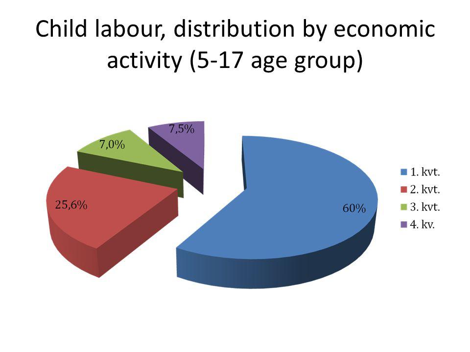 Child labour, distribution by economic activity (5-17 age group)