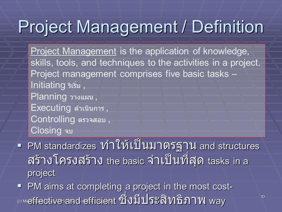 (c) Michael Brueckner 2005/2006 - Software Engineering 13 Project Management / Definition  PM standardizes ทำให้เป็นมาตรฐาน and structures สร้างโครงส