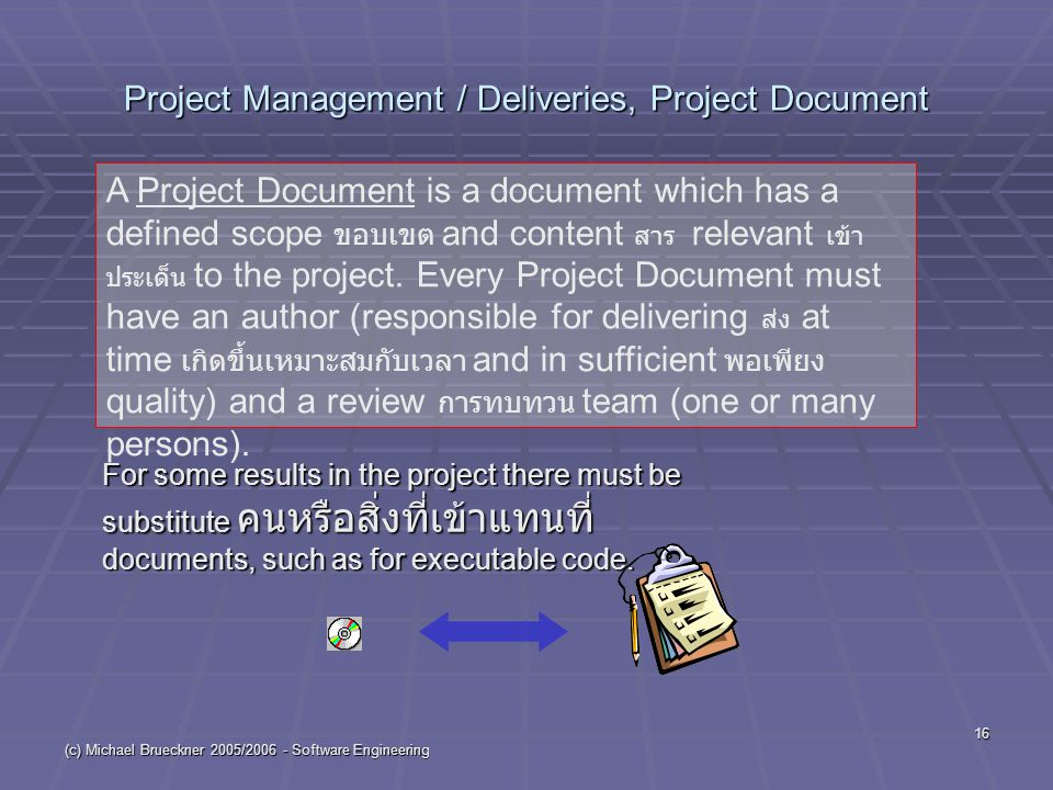 (c) Michael Brueckner 2005/2006 - Software Engineering 16 Project Management / Deliveries, Project Document For some results in the project there must be substitute คนหรือสิ่งที่เข้าแทนที่ documents, such as for executable code.