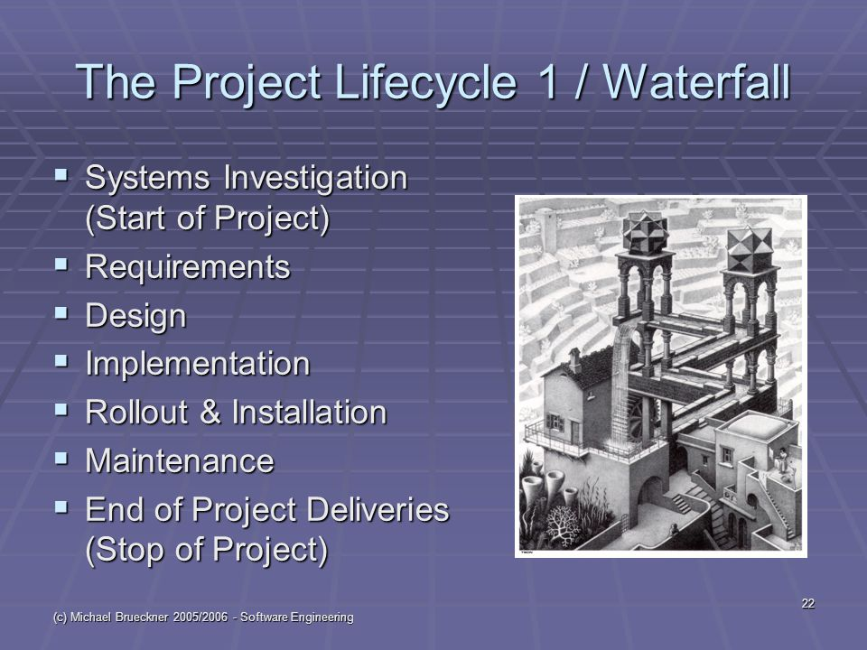 (c) Michael Brueckner 2005/2006 - Software Engineering 22 The Project Lifecycle 1 / Waterfall  Systems Investigation (Start of Project)  Requirements  Design  Implementation  Rollout & Installation  Maintenance  End of Project Deliveries (Stop of Project)
