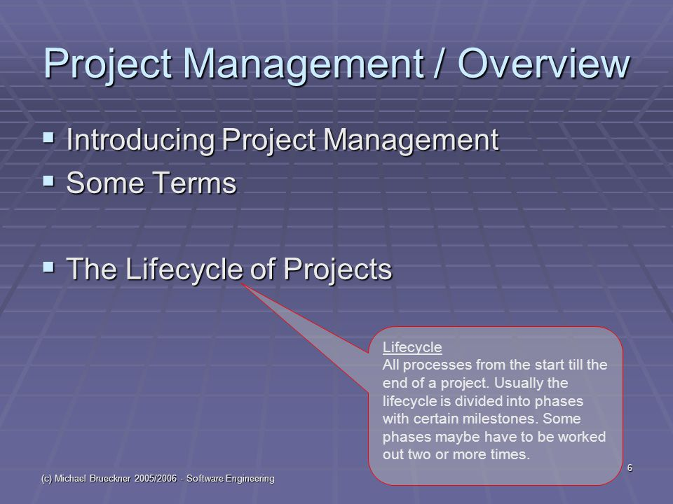 (c) Michael Brueckner 2005/2006 - Software Engineering 6 Project Management / Overview  Introducing Project Management  Some Terms  The Lifecycle of Projects Lifecycle All processes from the start till the end of a project.