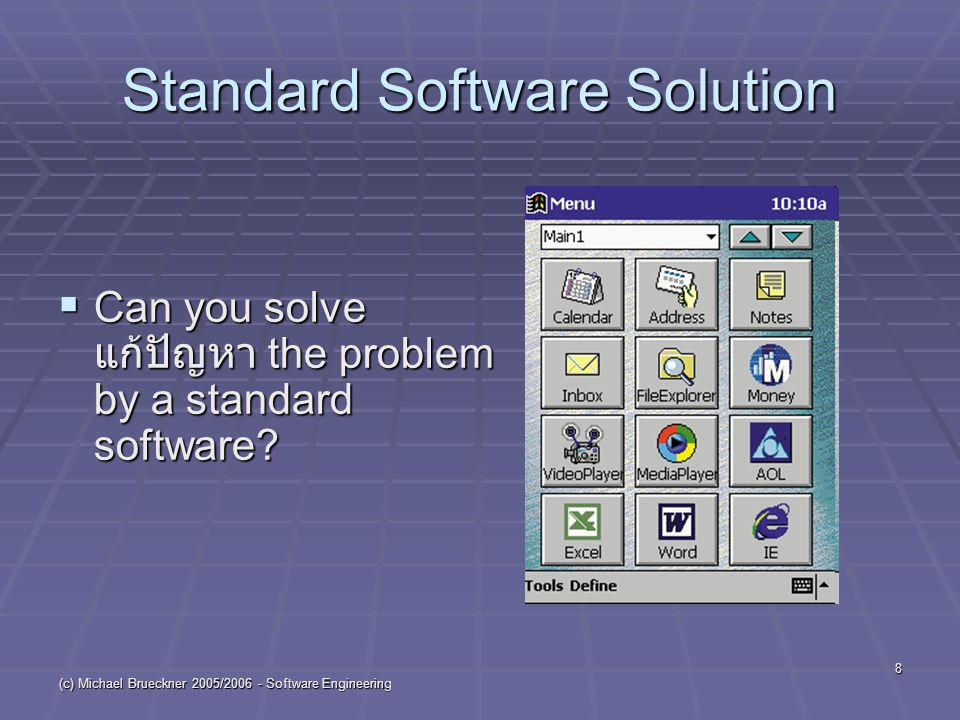 (c) Michael Brueckner 2005/2006 - Software Engineering 8 Standard Software Solution  Can you solve แก้ปัญหา the problem by a standard software