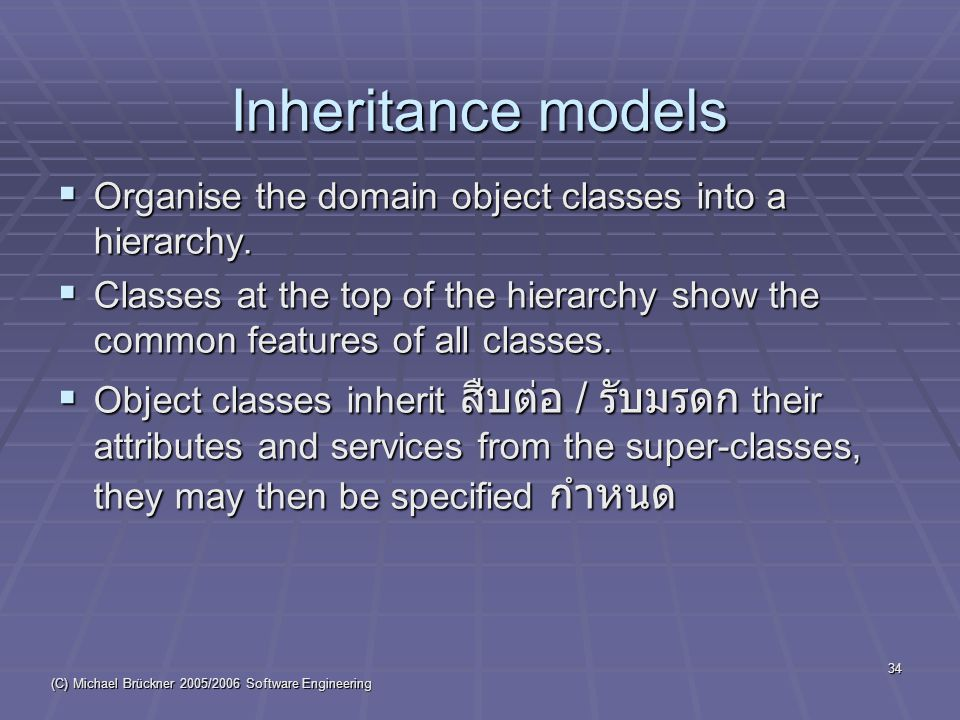 (C) Michael Brückner 2005/2006 Software Engineering 34 Inheritance models  Organise the domain object classes into a hierarchy.