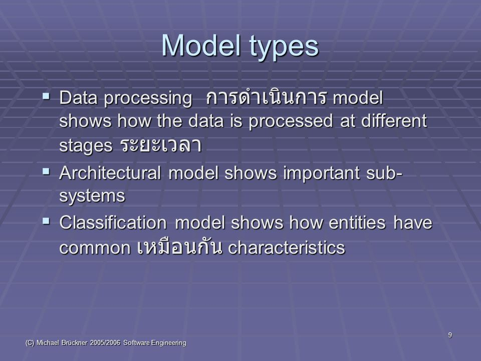 (C) Michael Brückner 2005/2006 Software Engineering 30 Data dictionaries  Data dictionaries are lists of all of the names used in the system models.