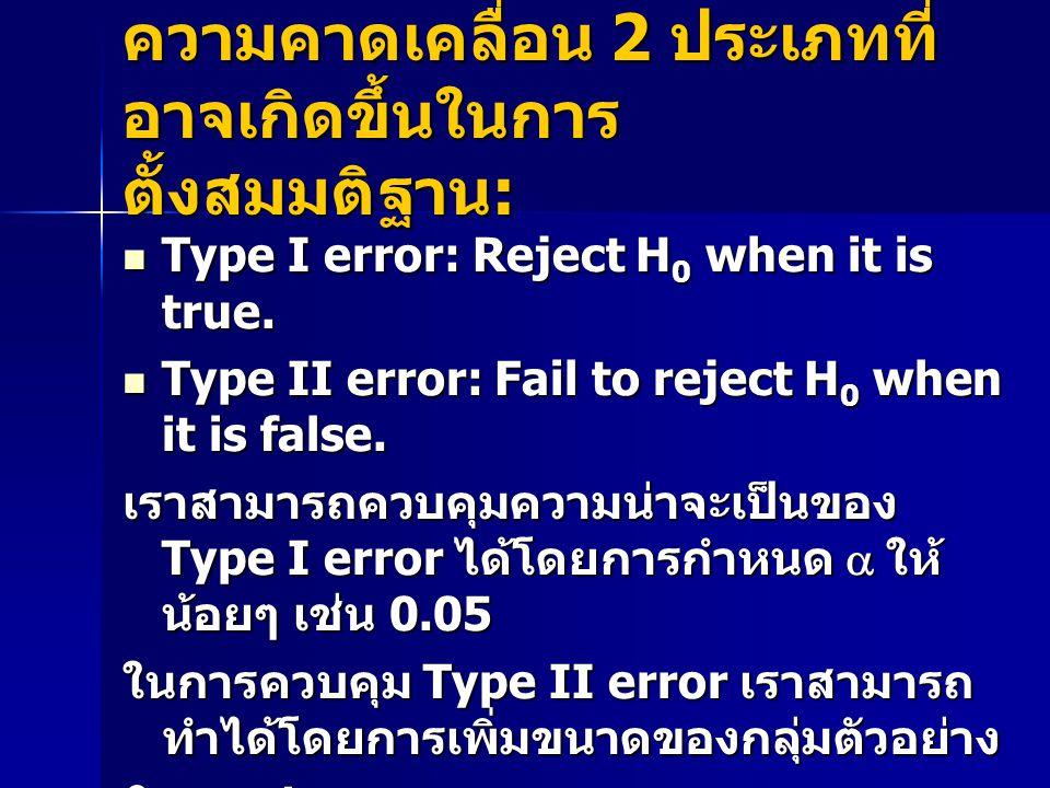 ความคาดเคลื่อน 2 ประเภทที่ อาจเกิดขึ้นในการ ตั้งสมมติฐาน : Type I error: Reject H 0 when it is true.
