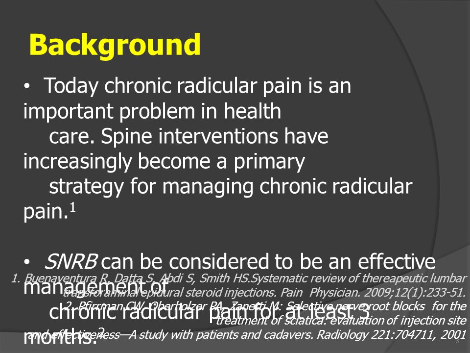 3 Background Today chronic radicular pain is an important problem in health care. Spine interventions have increasingly become a primary strategy for