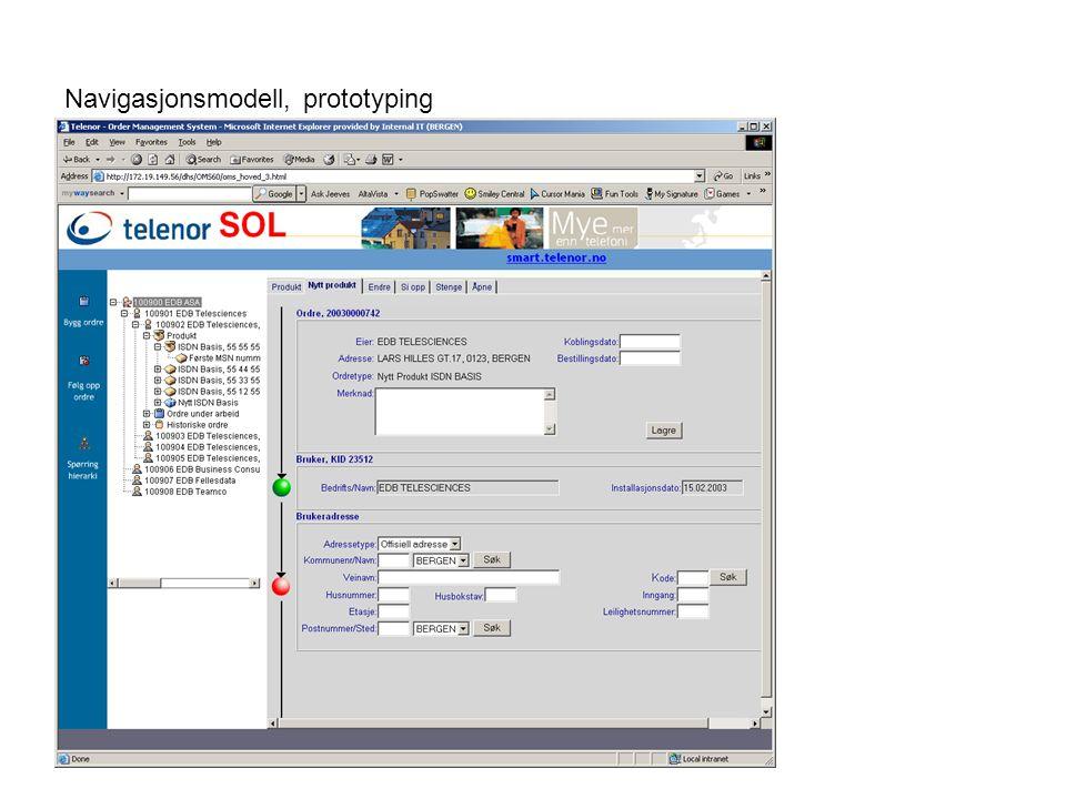 Navigasjonsmodell, prototyping