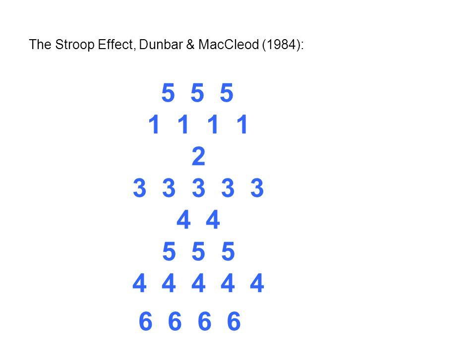 The Stroop Effect, Dunbar & MacCleod (1984): 5 5 5 1 1 1 1 2 3 3 3 3 3 4 4 5 5 5 4 4 4 4 4 6 6