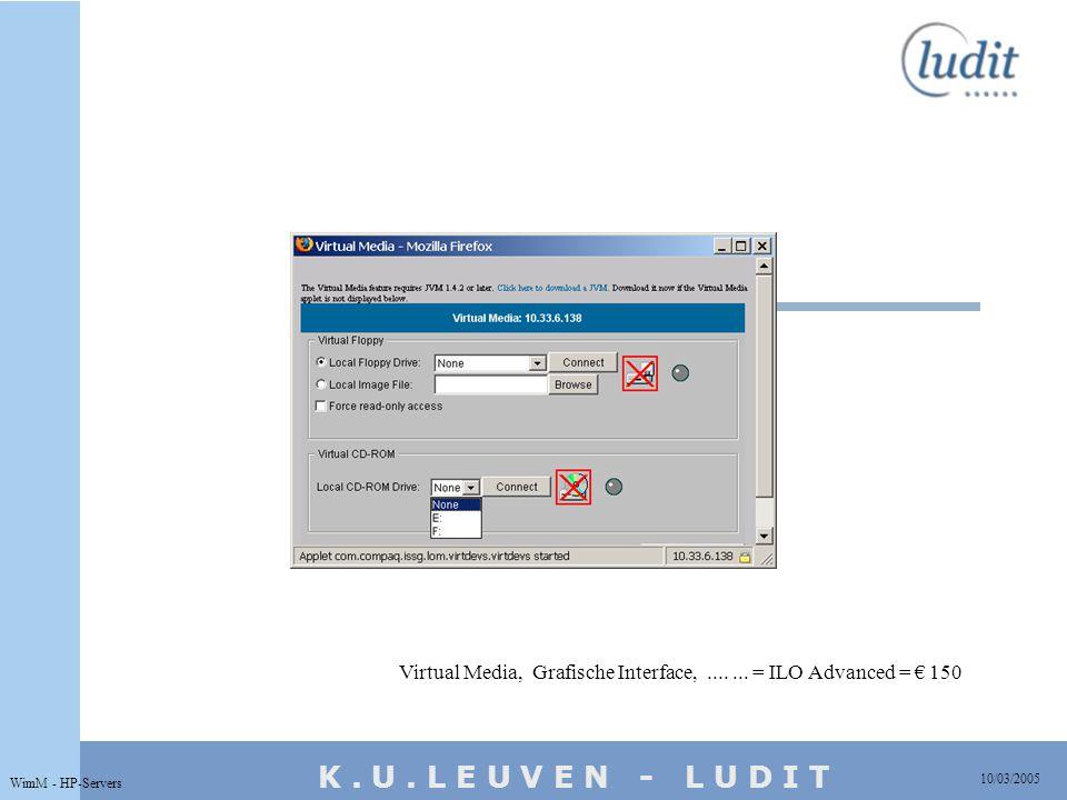K. U. L E U V E N - L U D I T 10/03/2005 WimM - HP-Servers Virtual Media, Grafische Interface,....... = ILO Advanced = € 150