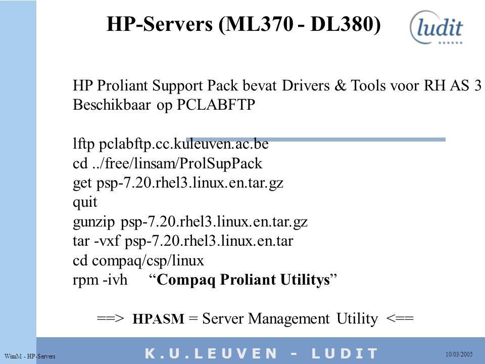 K. U. L E U V E N - L U D I T HP-Servers (ML370 - DL380) 10/03/2005 WimM - HP-Servers HP Proliant Support Pack bevat Drivers & Tools voor RH AS 3 Besc