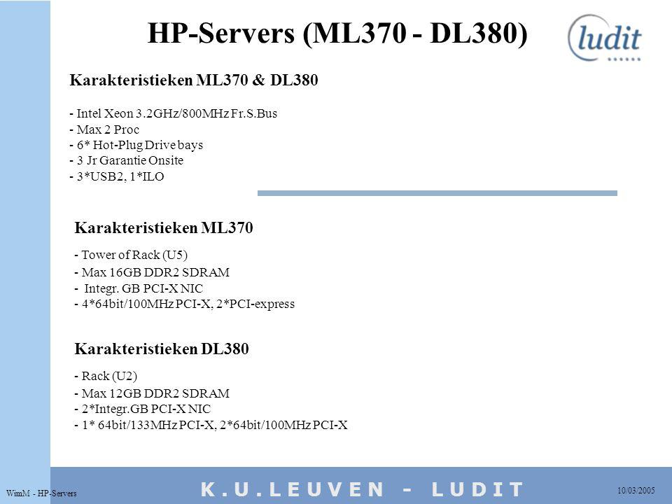 K. U. L E U V E N - L U D I T HP-Servers (ML370 - DL380) 10/03/2005 WimM - HP-Servers Karakteristieken ML370 - Tower of Rack (U5) - Max 16GB DDR2 SDRA