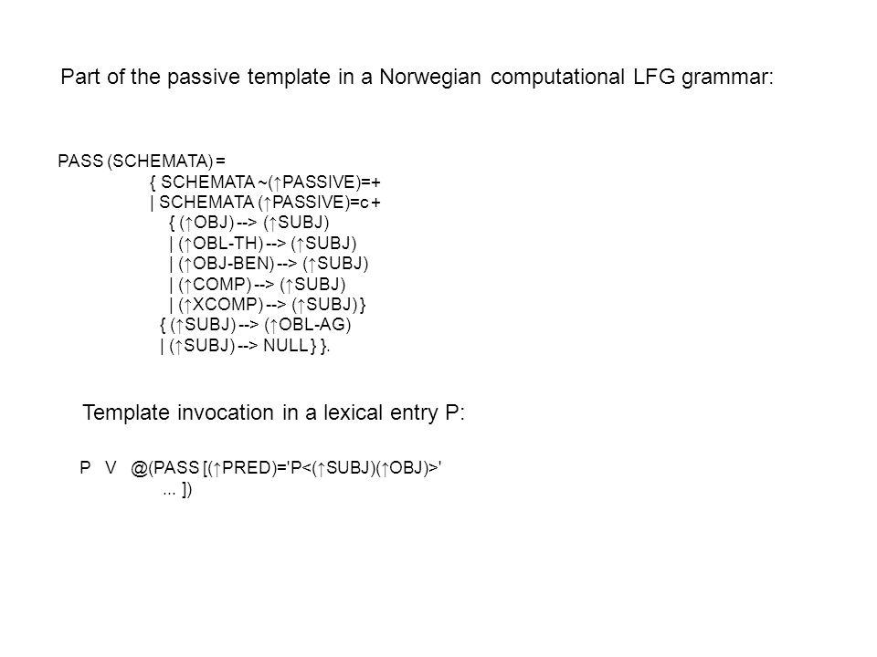 PASS (SCHEMATA) = { SCHEMATA ~(↑PASSIVE)=+ | SCHEMATA (↑PASSIVE)=c + { (↑OBJ) --> (↑SUBJ) | (↑OBL-TH) --> (↑SUBJ) | (↑OBJ-BEN) --> (↑SUBJ) | (↑COMP) --> (↑SUBJ) | (↑XCOMP) --> (↑SUBJ) } { (↑SUBJ) --> (↑OBL-AG) | (↑SUBJ) --> NULL } }.