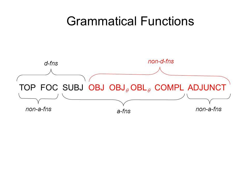 Grammatical Functions TOP FOC SUBJ OBJ OBJ  OBL  COMPL ADJUNCT non-a-fns a-fns d-fns non-d-fns