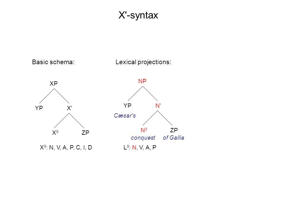 XP X X0X0 YP ZP NP N N0N0 YP ZP X -syntax X 0 : N, V, A, P, C, I, DL 0 : N, V, A, P Basic schema: Cæsar s conquestof Gallia Lexical projections: