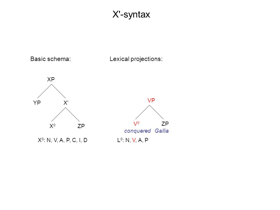 XP X' X0X0 YP ZP VP V0V0 ZP X'-syntax X 0 : N, V, A, P, C, I, DL 0 : N, V, A, P Basic schema: conqueredGallia Lexical projections: