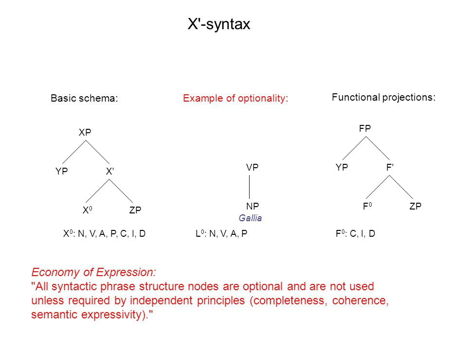 XP X X0X0 YP ZP FP F F0F0 YP ZP X -syntax X 0 : N, V, A, P, C, I, DL 0 : N, V, A, PF 0 : C, I, D Basic schema:Example of optionality: Functional projections: Economy of Expression: All syntactic phrase structure nodes are optional and are not used unless required by independent principles (completeness, coherence, semantic expressivity). VP NP Gallia